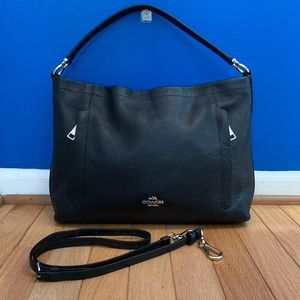 Coach Scout Black Pebbled Leather Hobo Bag